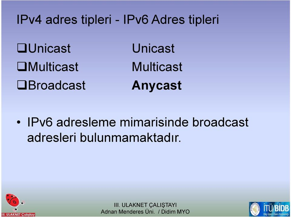 Multicast Anycast IPv6 adresleme