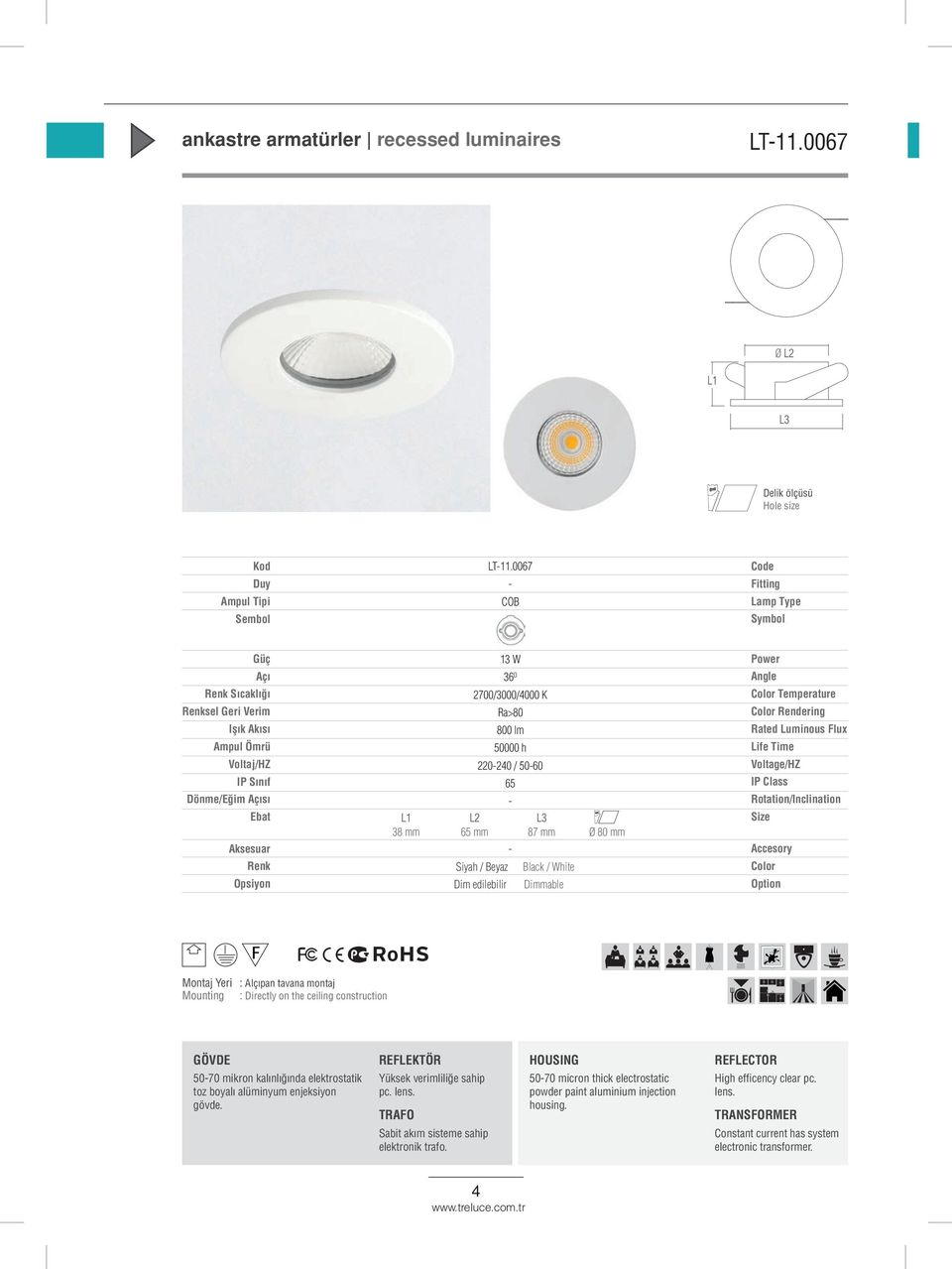 Black / White Dimmable 410413.