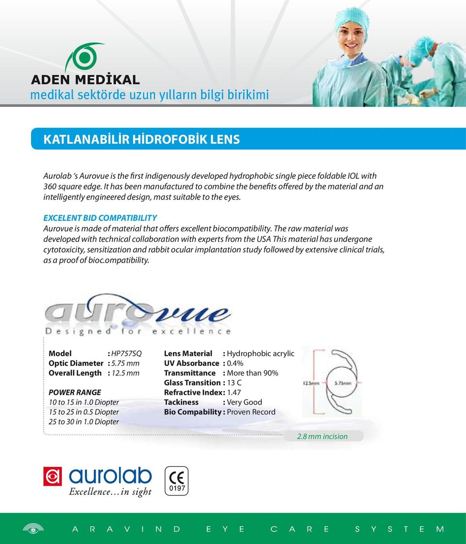 EXCELENT BID COMPATIBILITY Aurovue is made of material that offers excellent biocompatibility.