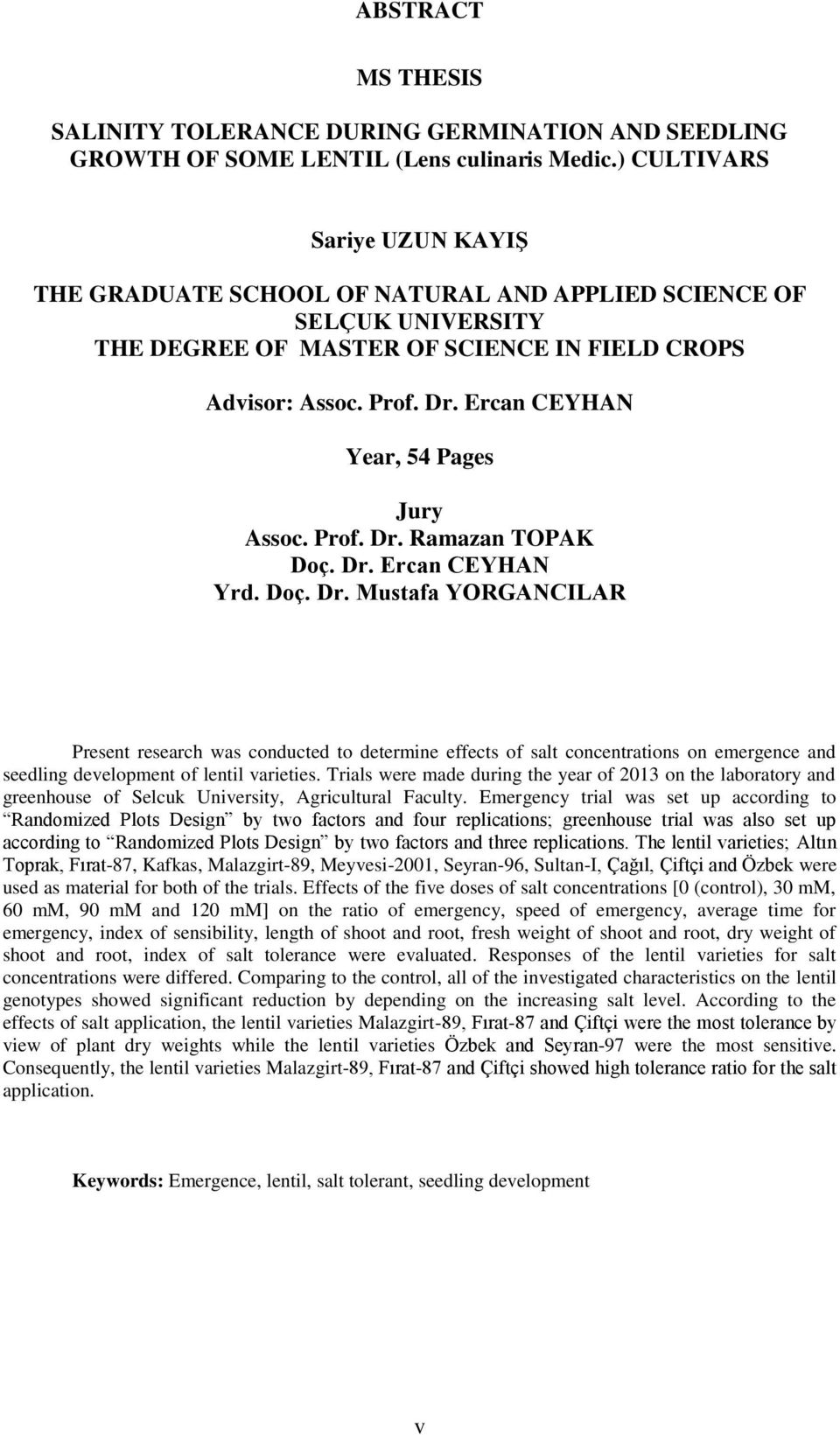 Ercan CEYHAN Year, 54 Pages Jury Assoc. Prof. Dr.