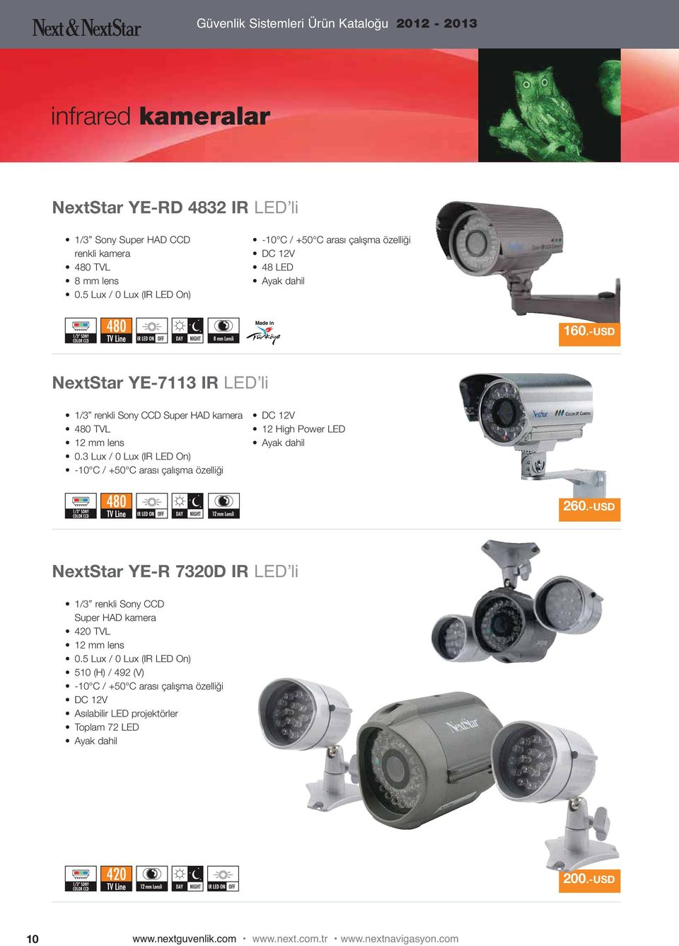 -USD NextStar YE-7113 IR LED li 1/3 renkli Sony CCD Super HAD kamera 480 TVL 12 mm lens 0.