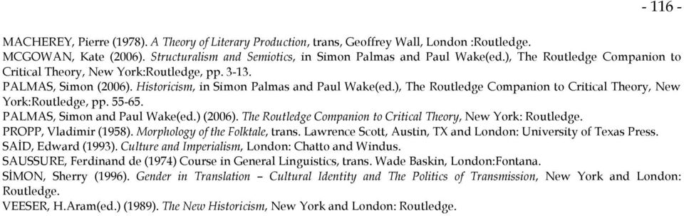 ), The Routledge Companion to Critical Theory, New York:Routledge, pp. 55-65. PALMAS, Simon and Paul Wake(ed.) (2006). The Routledge Companion to Critical Theory, New York: Routledge.