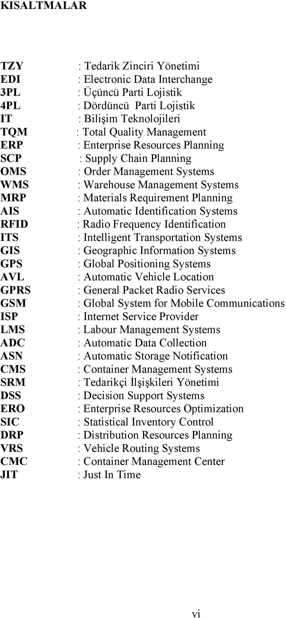 Management Systems : Materials Requirement Planning : Automatic Identification Systems : Radio Frequency Identification : Intelligent Transportation Systems : Geographic Information Systems : Global