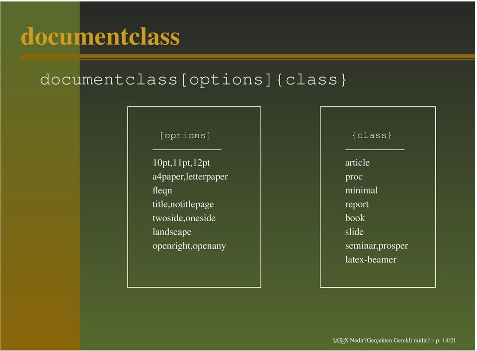 openright,openany {class} article proc minimal report book slide