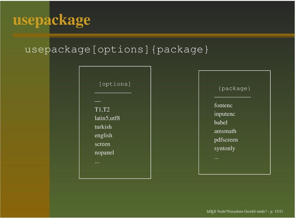 .. {package} fontenc inputenc babel amsmath