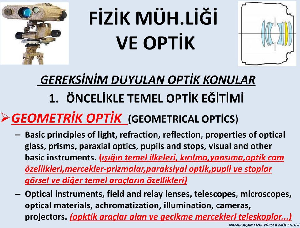 paraxial optics, pupils and stops, visual and other basic instruments.