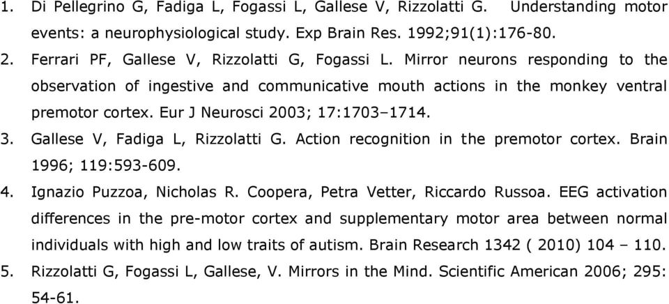 Eur J Neurosci 2003; 17:1703 1714. 3. Gallese V, Fadiga L, Rizzolatti G. Action recognition in the premotor cortex. Brain 1996; 119:593-609. 4. Ignazio Puzzoa, Nicholas R.