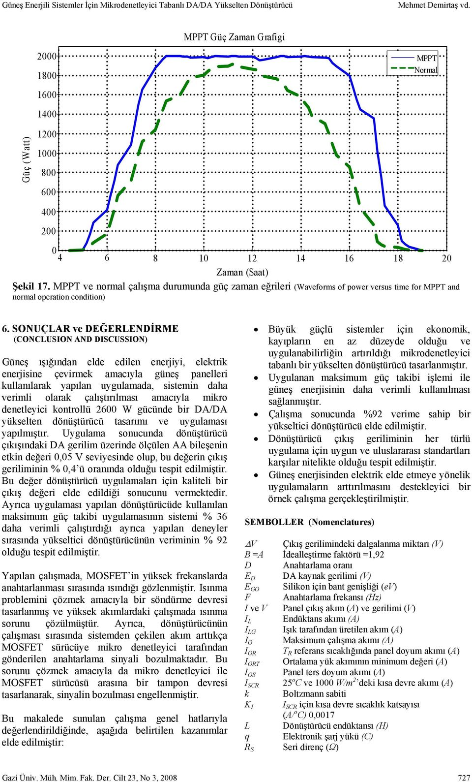 MPPT ve normal çalışma durumunda güç zaman eğrileri (Waveforms of power versus time for MPPT and normal operation condition) 6.
