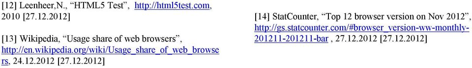 2012 [27.12.2012] [14] StatCounter, Top 12 browser version on Nov 2012, http://gs.