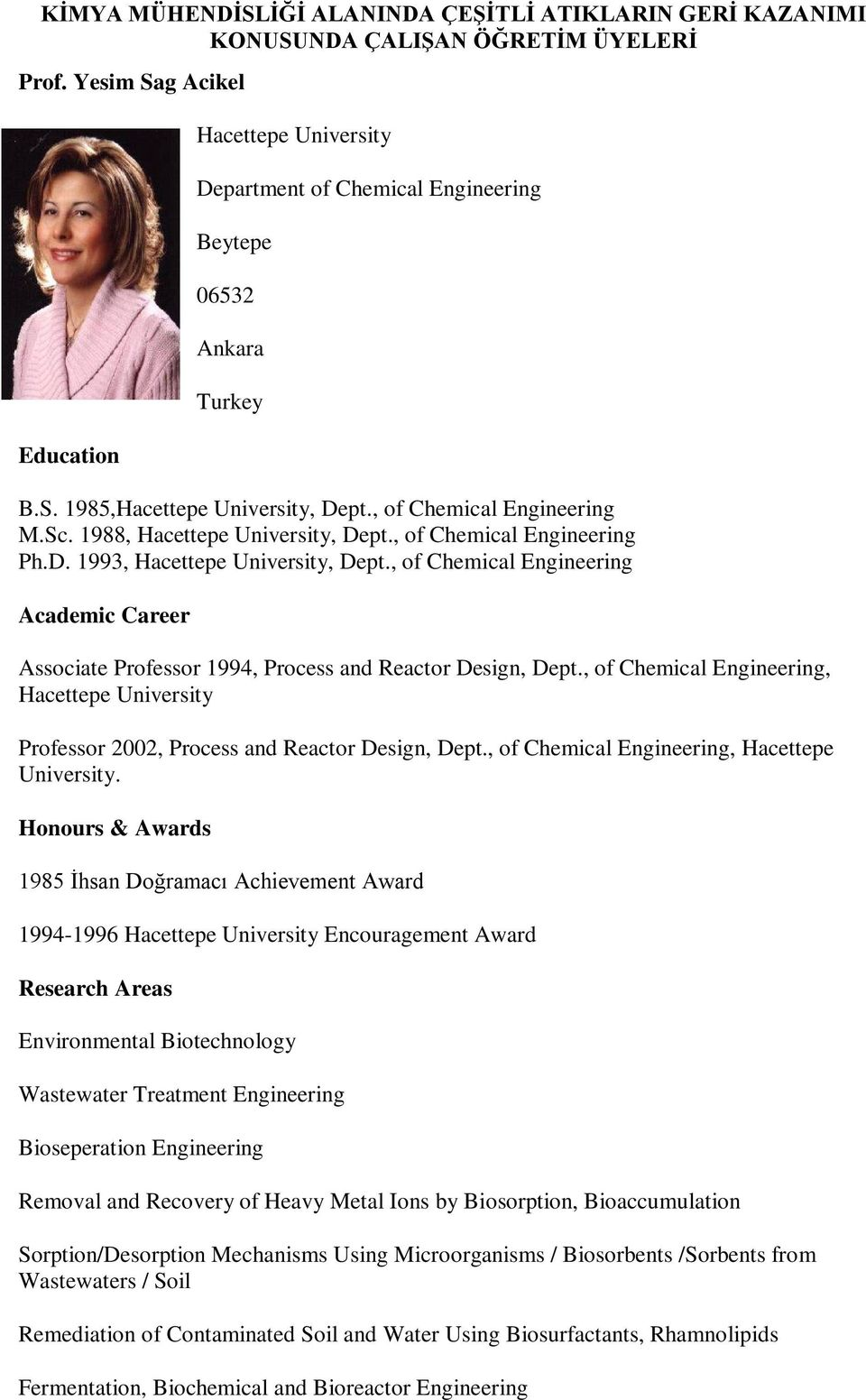 , of Chemical Engineering, Hacettepe University