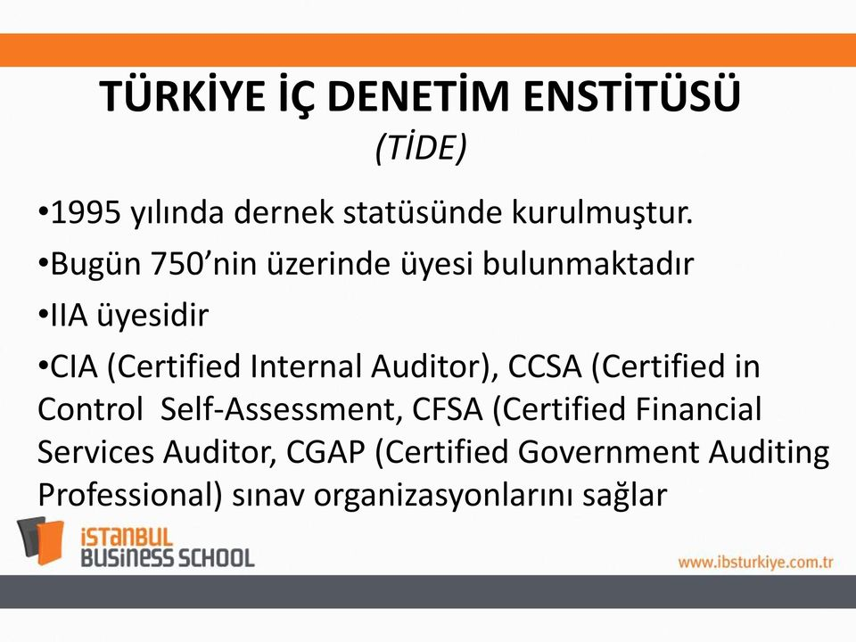 Auditor), CCSA (Certified in Control Self-Assessment, CFSA (Certified Financial