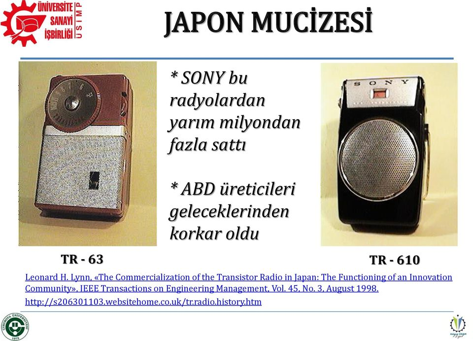 Lynn, «The Commercialization of the Transistor Radio in Japan: The Functioning of an