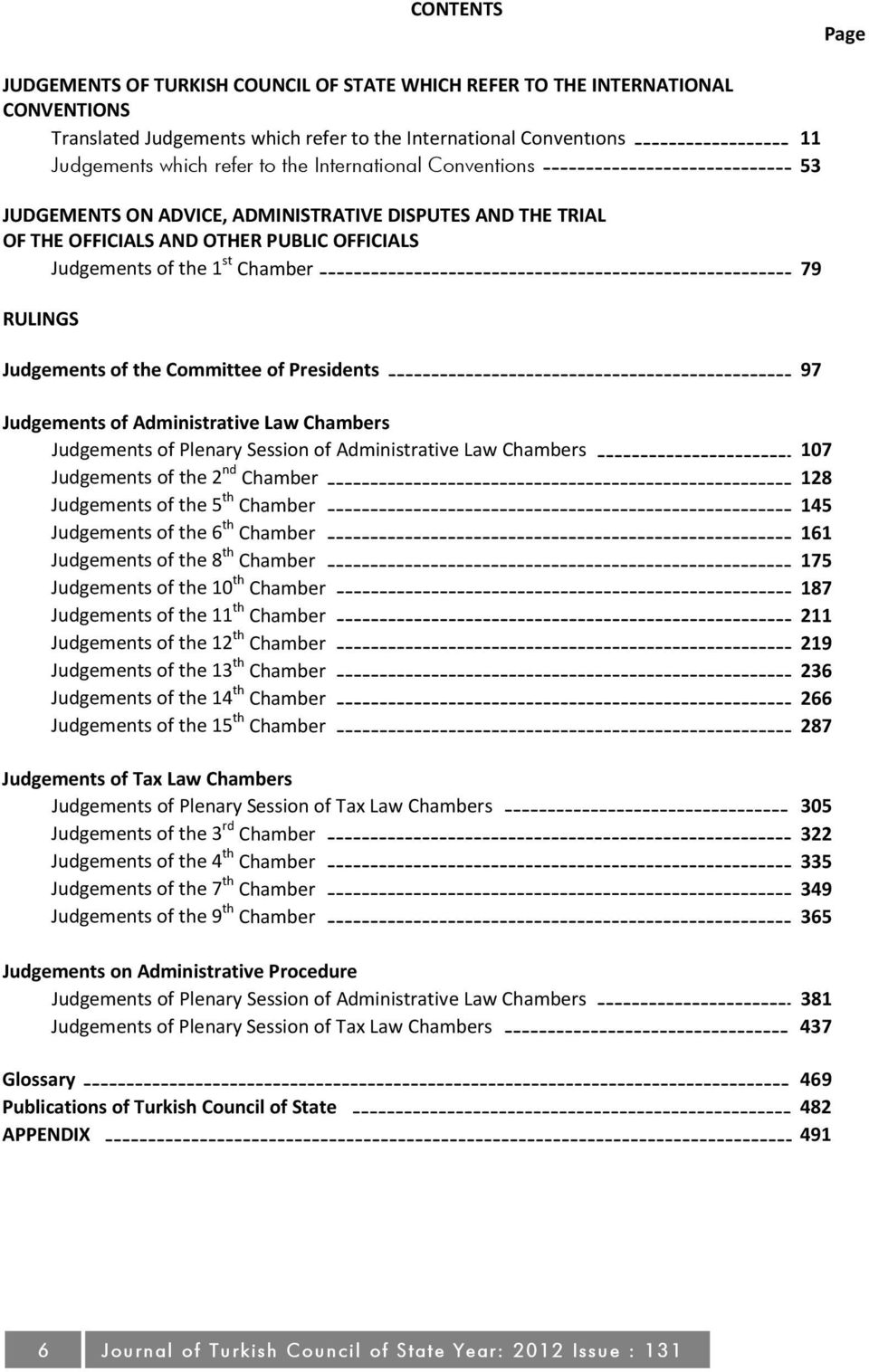 Committee of Presidents 97 Judgements of Administrative Law Chambers Judgements of Plenary Session of Administrative Law Chambers 107 Judgements of the 2 nd Chamber 128 Judgements of the 5 th Chamber