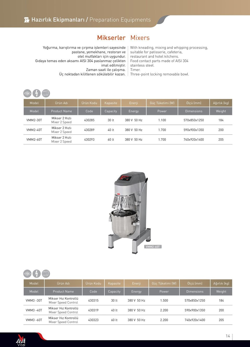 Mixers With kneading, mixing and whipping processing, suitable for patisserie, cafeteria, restaurant and hotel kitchens. Food contact parts made of AISI 304 stainless steel. Timer.