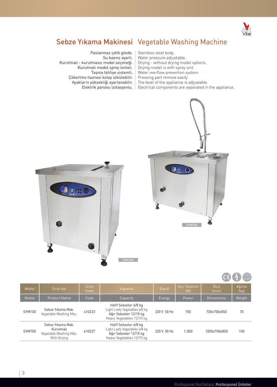 Drying model is with spray unit. Water overflow prevention system. Pressing part remove easily. The level of the appliance is adjustable. Electrical components are separated in the appliance.