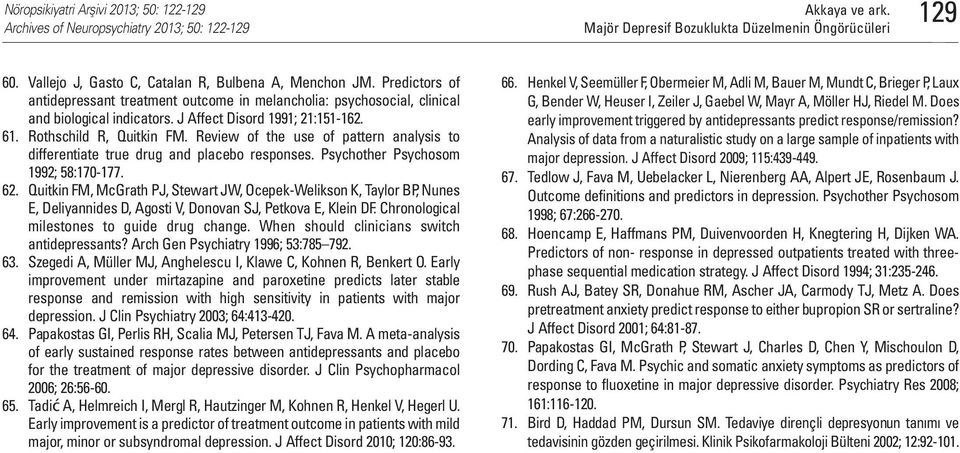 Review of the use of pattern analysis to differentiate true drug and placebo responses. Psychother Psychosom 1992; 58:170-177. 62.