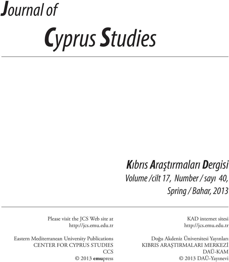 tr Eastern Mediterranean University Publications CENTER FOR CYPRUS STUDIES CCS 2013 emupress KAD