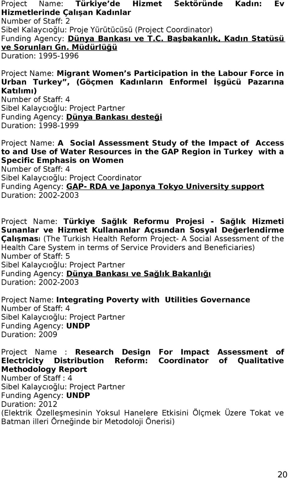 Kalaycıoğlu: Project Partner Funding Agency: Dünya Bankası desteği Duration: 1998-1999 Project Name: A Social Assessment Study of the Impact of Access to and Use of Water Resources in the GAP Region