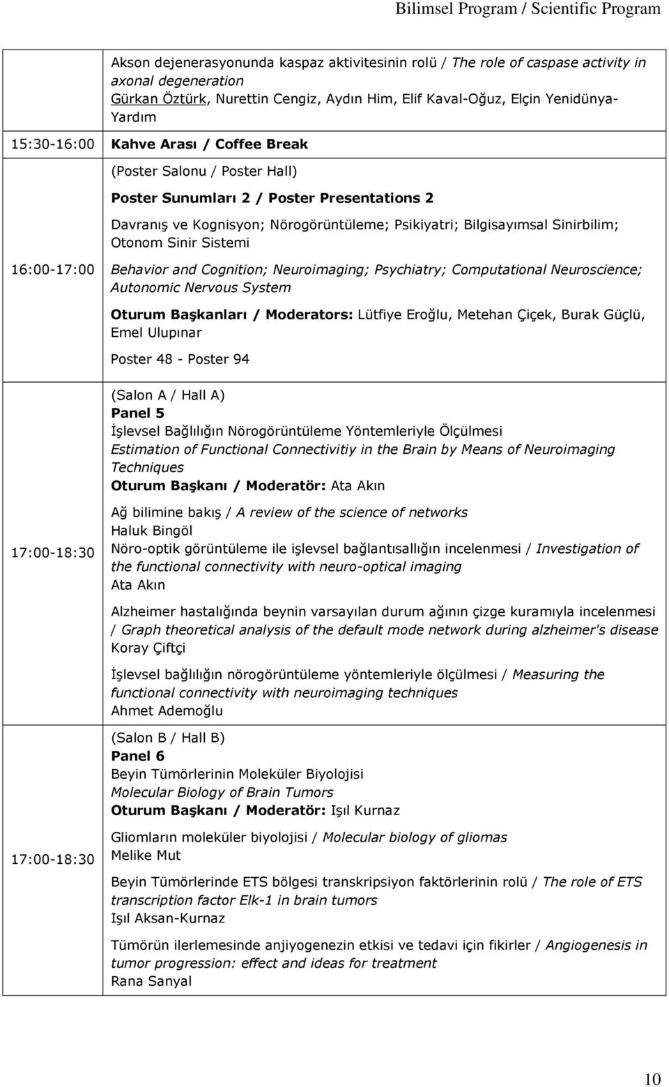 Psikiyatri; Bilgisayımsal Sinirbilim; Otonom Sinir Sistemi 16:00-17:00 Behavior and Cognition; Neuroimaging; Psychiatry; Computational Neuroscience; Autonomic Nervous System Oturum Başkanları /