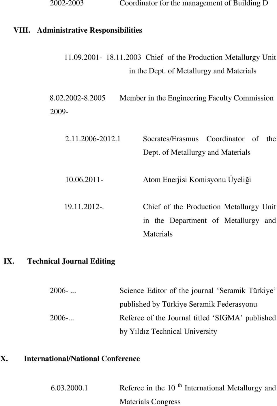 11.2012-. Chief of the Production Metallurgy Unit in the Department of Metallurgy and Materials IX. Technical Journal Editing 2006-.