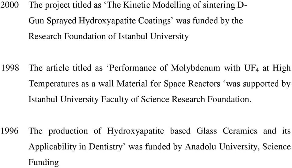 Temperatures as a wall Material for Space Reactors was supported by Istanbul University Faculty of Science Research