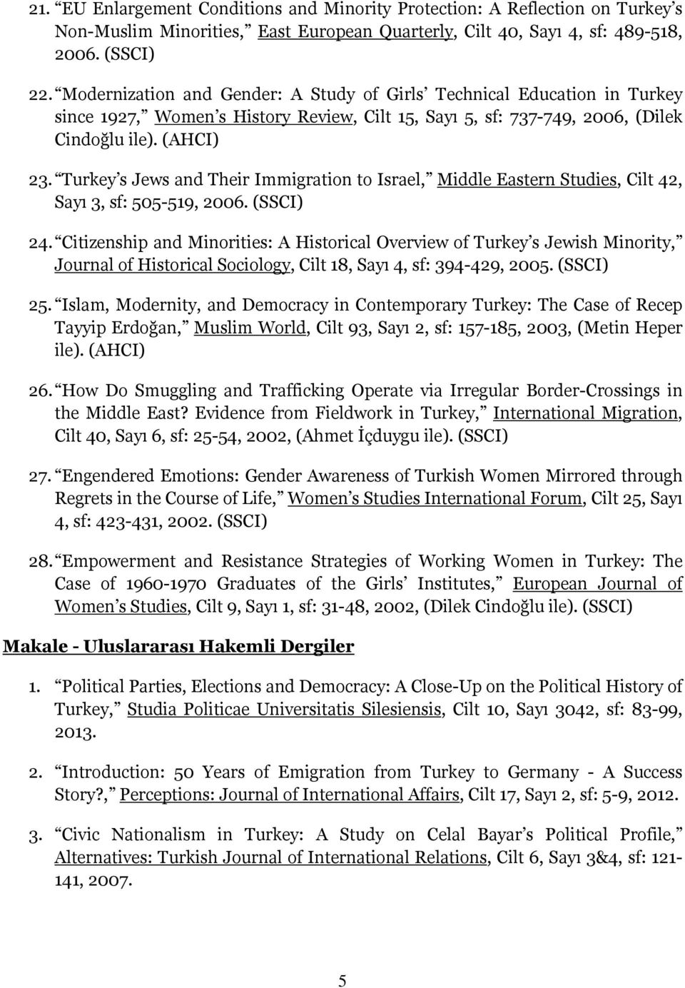 Turkey s Jews and Their Immigration to Israel, Middle Eastern Studies, Cilt 42, Sayı 3, sf: 505-519, 2006. (SSCI) 24.