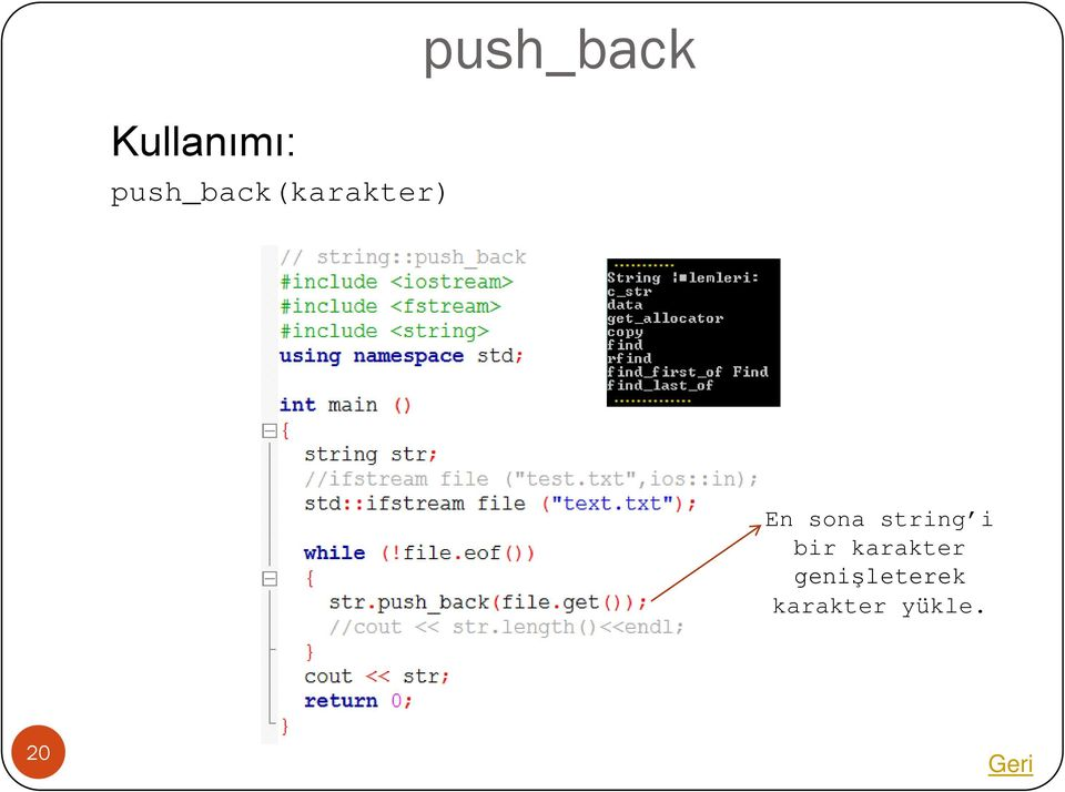 push_back En sona string