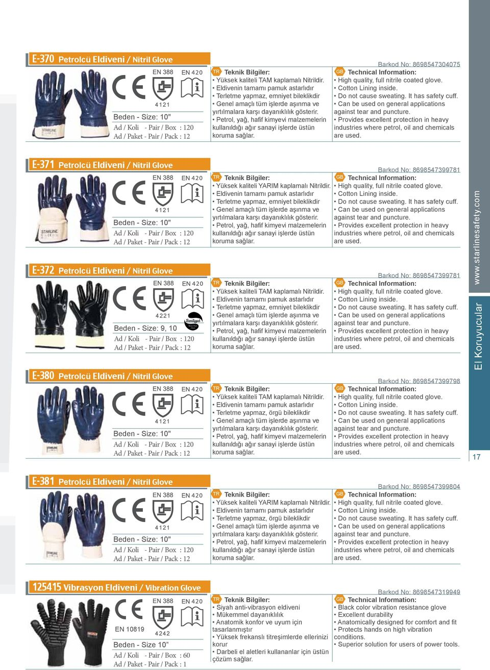 Petrol, yağ, hafif kimyevi malzemelerin kullanıldığı ağır sanayi işlerde üstün koruma sağlar. Barkod No: 8698547304075 High quality, full nitrile coated glove. Cotton Lining inside.