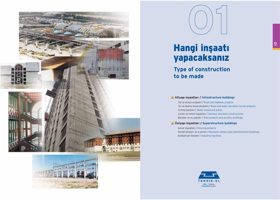 Harbour and dock constructions Barajlar ve su yap lar / Dam projects and auxilary buildings Üstyap inflaatlar / Superstructure buildings Konut inflaatlar /