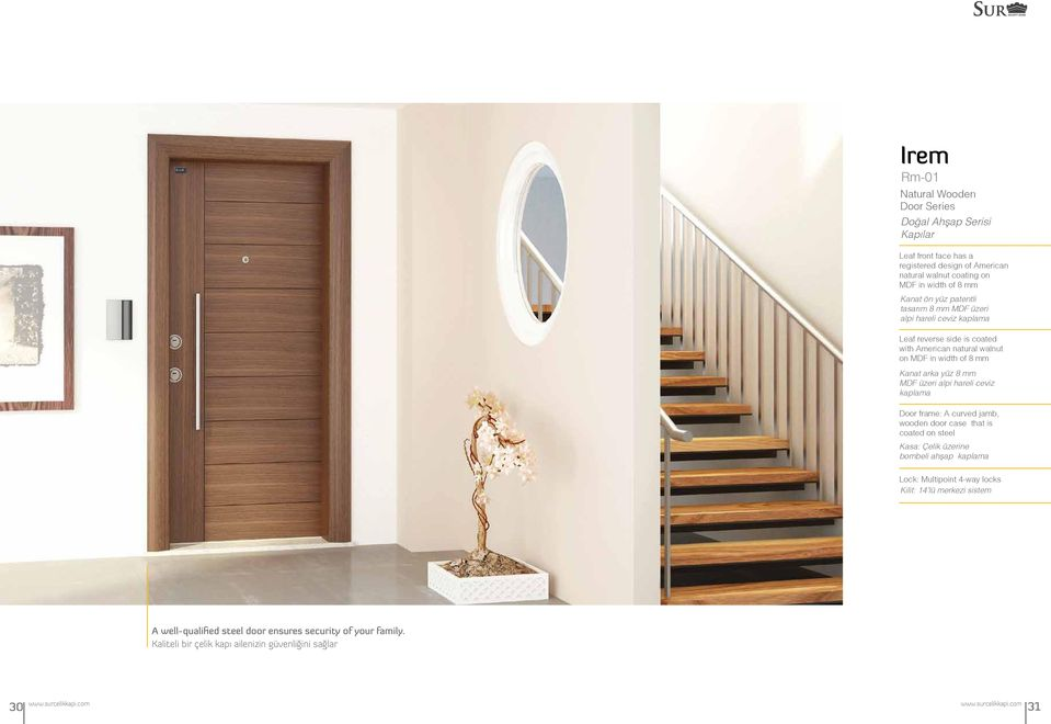 mm Kanat arka yüz 8 mm MDF üzeri alpi hareli ceviz kaplama Door frame: A curved jamb, wooden door case that is coated on steel Kasa: Çelik üzerine bombeli