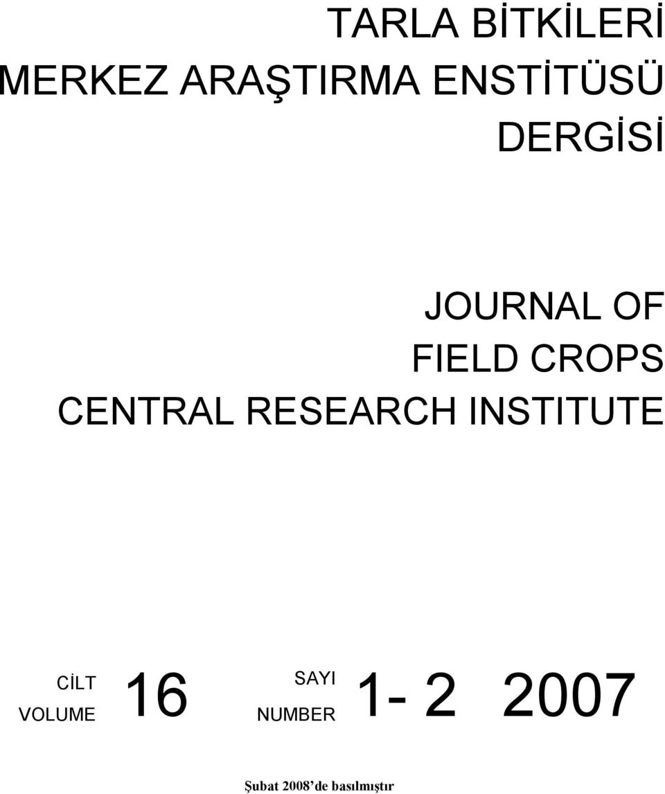 CENTRAL RESEARCH INSTITUTE CİLT VOLUME