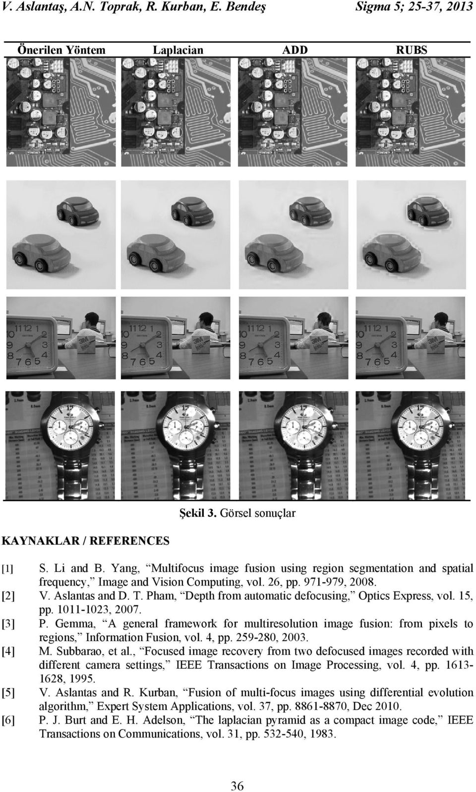 Pham, Depth from automatic defocusing, Optics Express, vol. 15, pp. 1011-103, 007. [3] P. Gemma, A general framework for multiresolution image fusion: from pixels to regions, Information Fusion, vol.