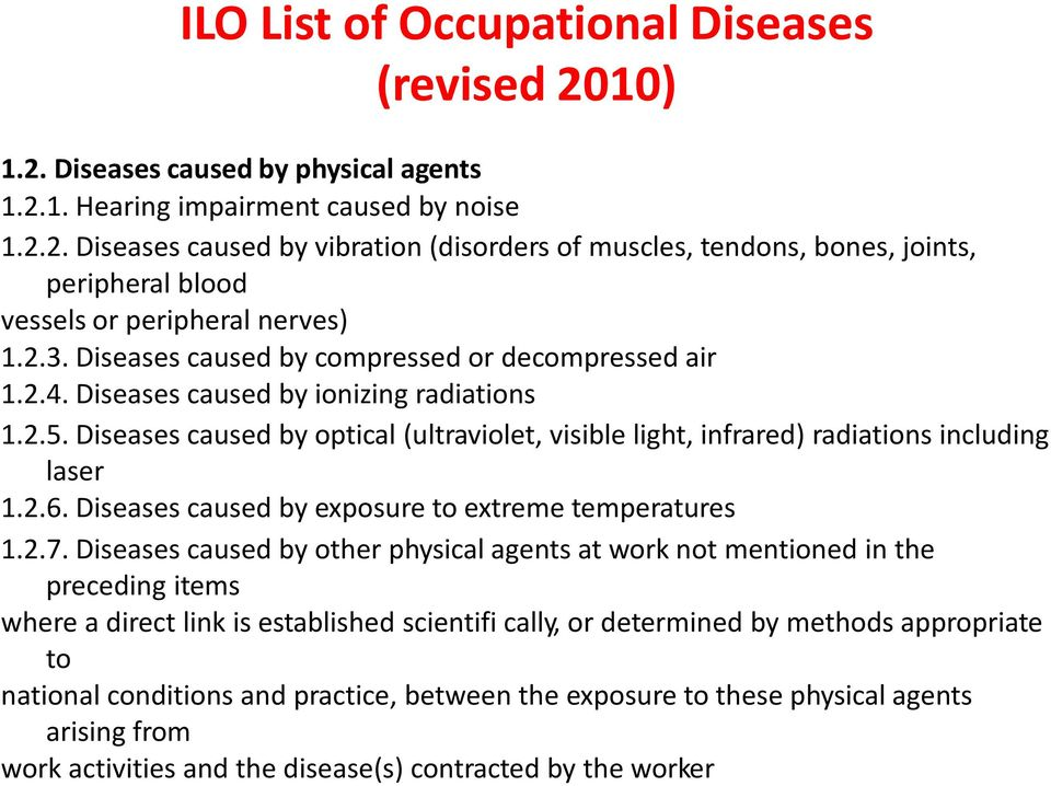 Diseases caused by optical (ultraviolet, visible light, infrared) radiations including laser 1.2.6. Diseases caused by exposure to extreme temperatures 1.2.7.