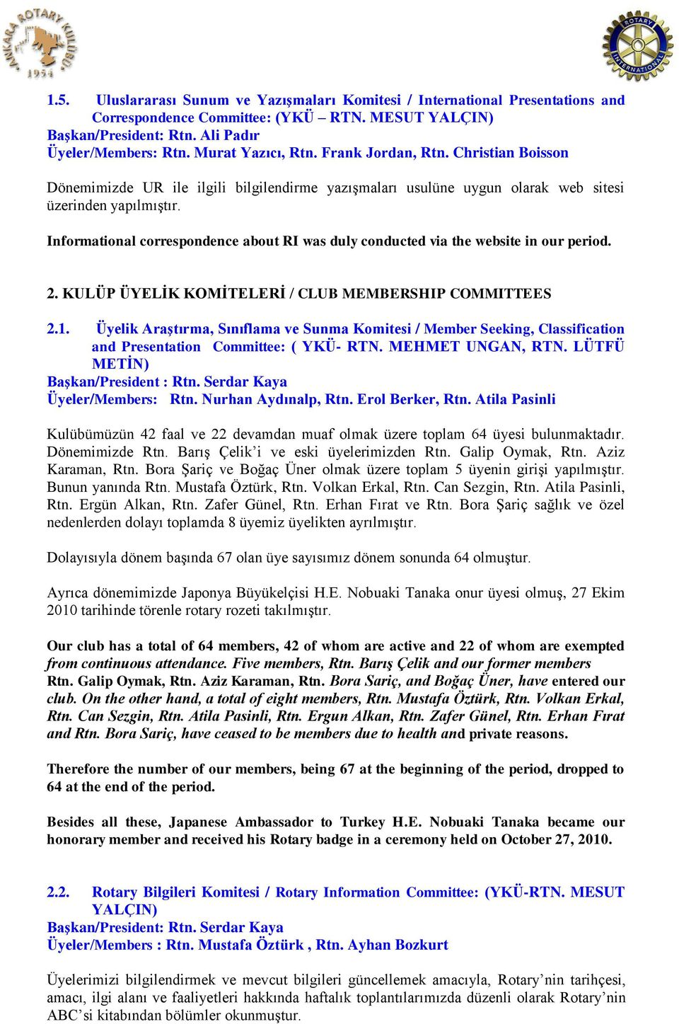 Informational correspondence about RI was duly conducted via the website in our period. 2. KULÜP ÜYELĠK KOMĠTELERĠ / CLUB MEMBERSHIP COMMITTEES 2.1.