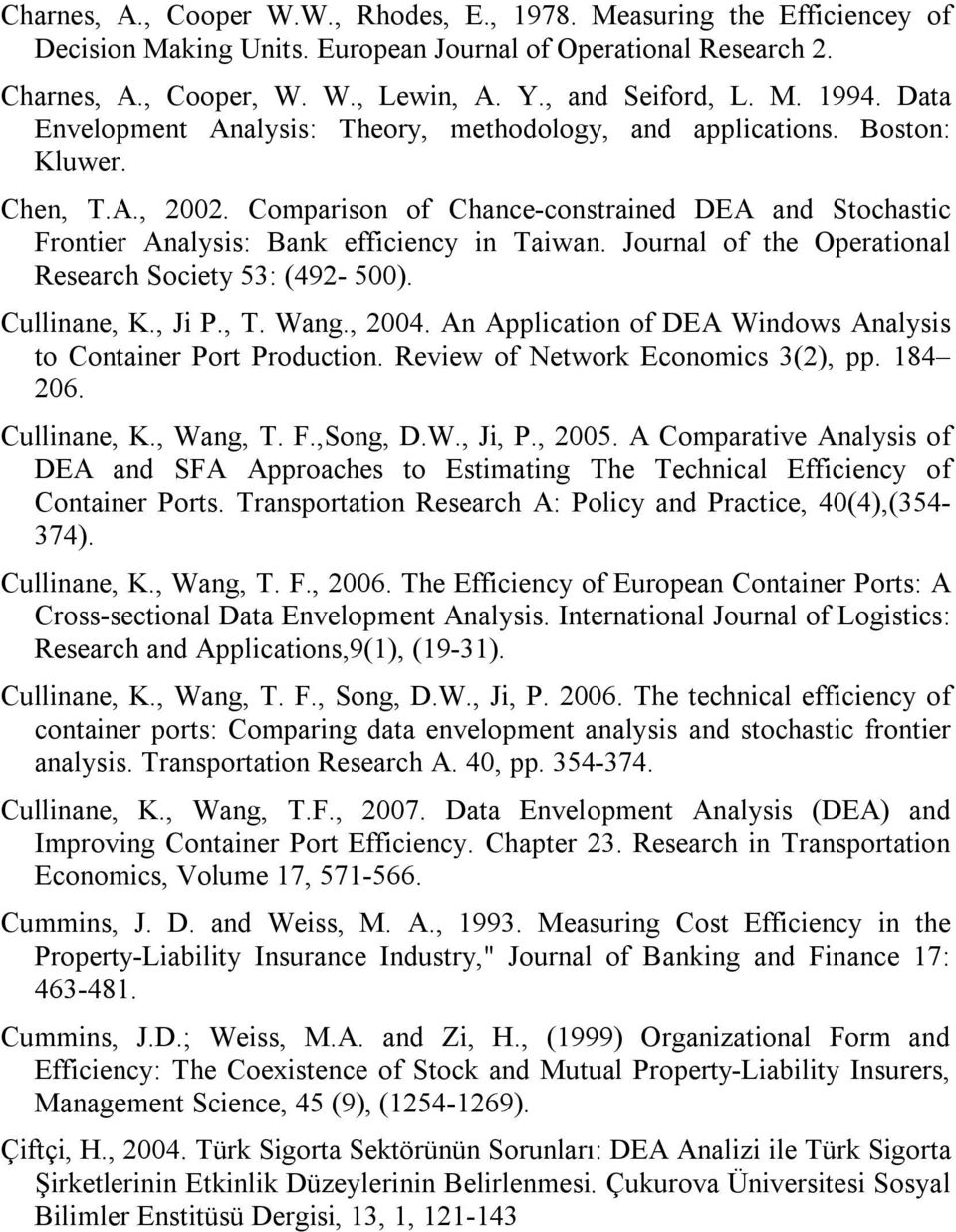 Journal of the Operational Research Society 53: (492-500). Cullinane, K., Ji P., T. Wang., 2004. An Application of DEA Windows Analysis to Container Port Production.
