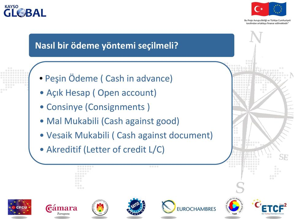 account) Consinye (Consignments ) Mal Mukabili (Cash
