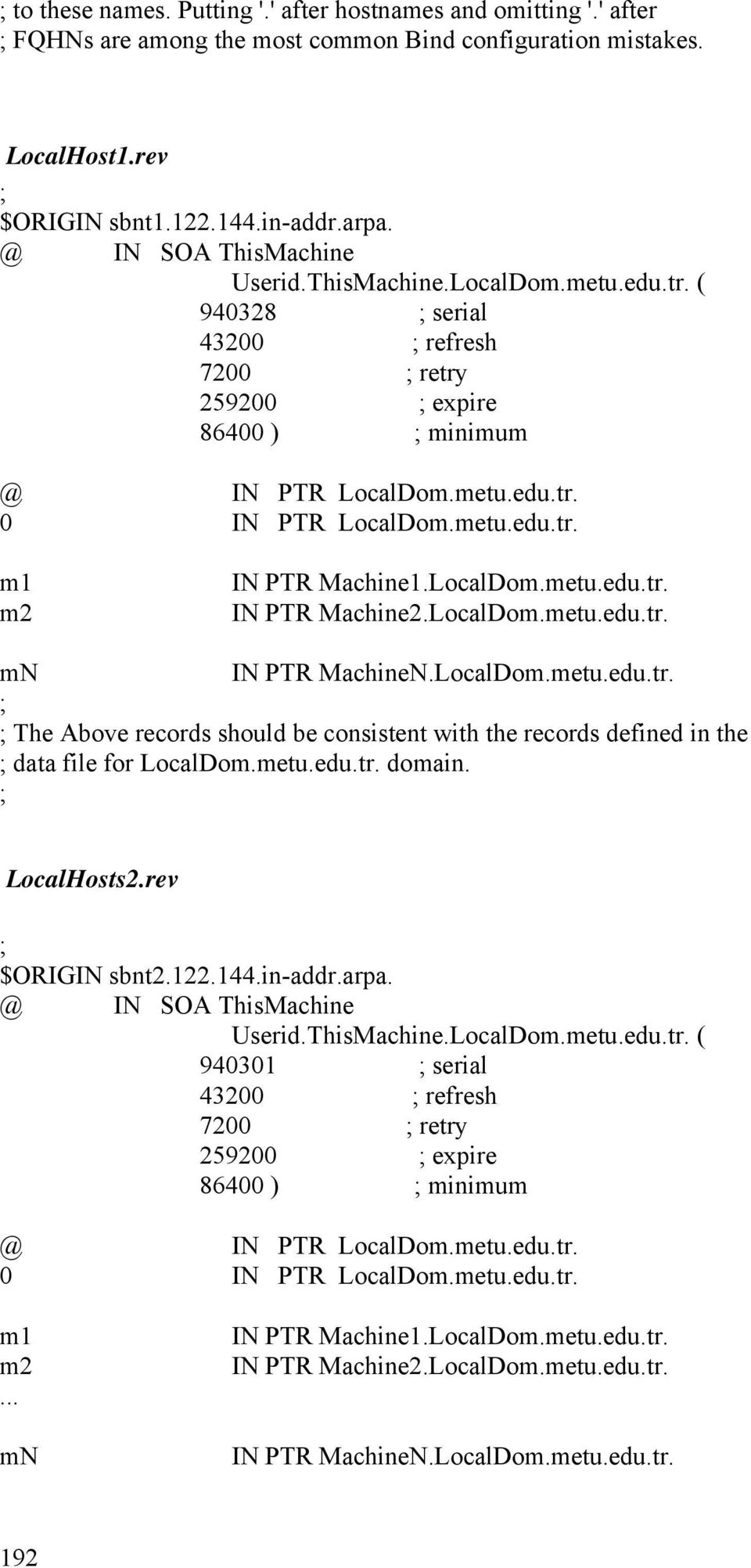 LocalDom.metu.edu.tr. IN PTR Machine2.LocalDom.metu.edu.tr. mn IN PTR MachineN.LocalDom.metu.edu.tr. The Above records should be consistent with the records defined in the data file for LocalDom.metu.edu.tr. domain.