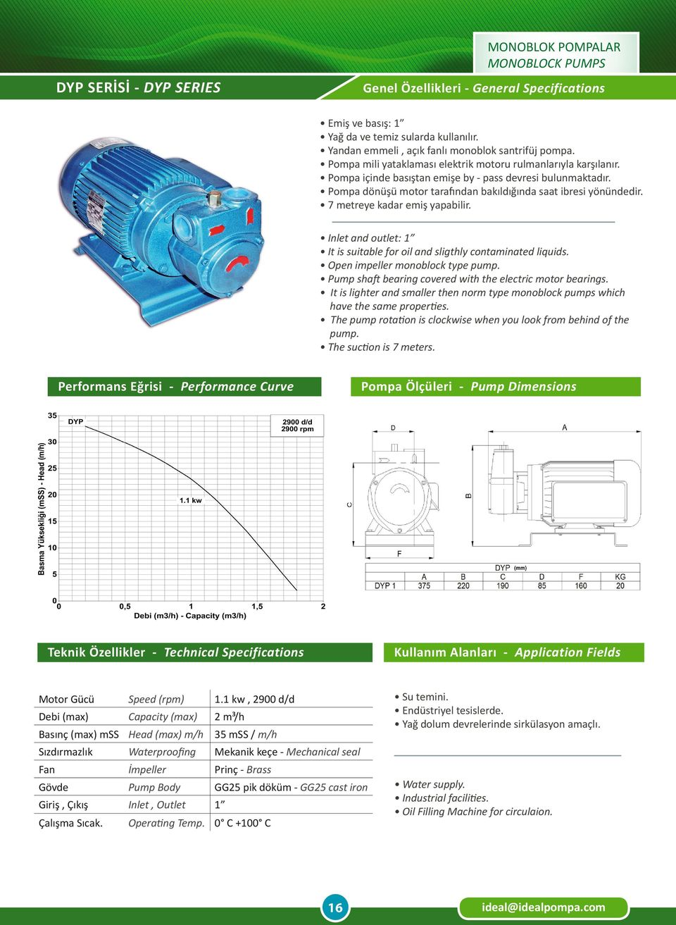 Open impeller monoblock type pump. The pump rotation is clockwise when you look from behind of the pump. 1.