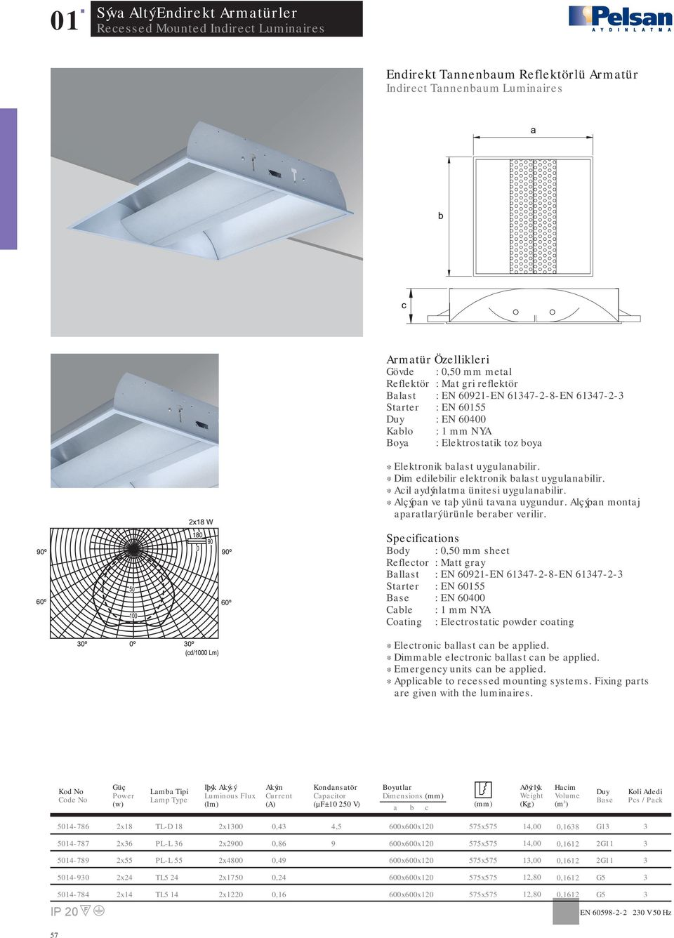 Body : 0,50 mm sheet Reflector : Matt gray Ballast : EN 0921-EN 17-2-8-EN 17-2- : EN 000 Coating : Electrostatic powder coating * Applicable to recessed mounting systems.
