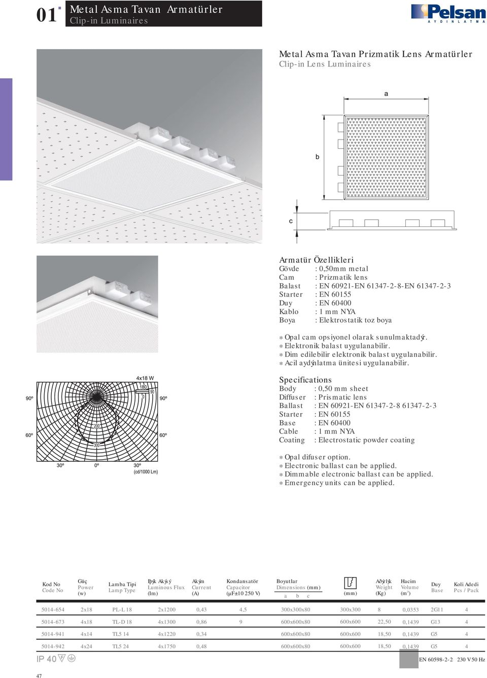 Body : 0,50 mm sheet Diffuser : Prismatic lens Ballast : EN 0921-EN 17-2-8 17-2- : EN 000 Coating : Electrostatic powder coating * Opal difuser option.