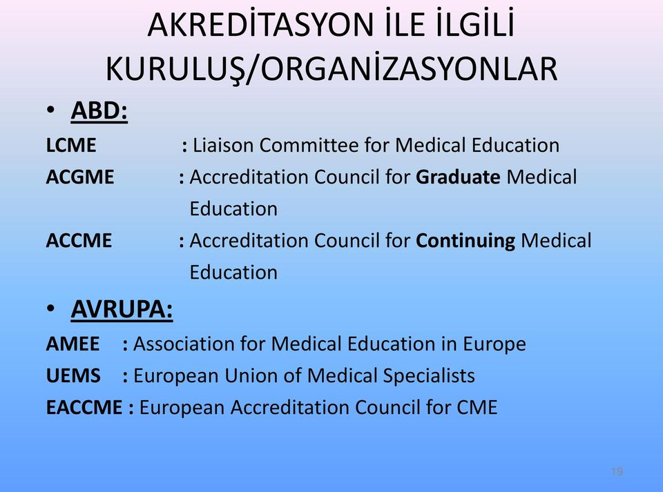 : Accreditation Council for Continuing Medical Education : Association for Medical Education