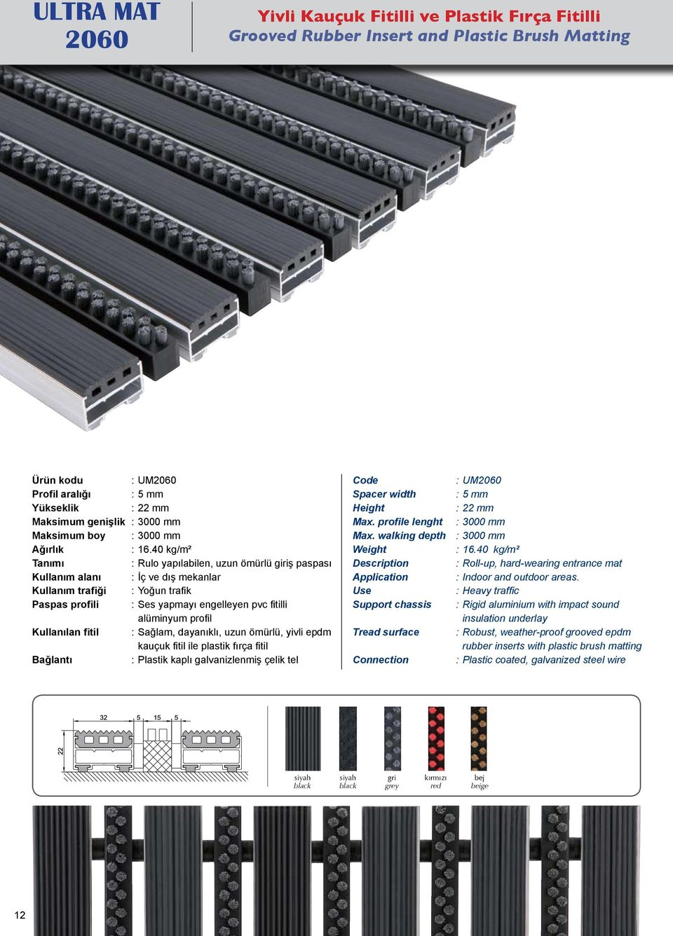 Plastik kaplı galvanizlenmiş çelik tel Spacer width Max. profile lenght Max. walking depth Description Application Support chassis Tread surface Connection : UM2060 : 5 mm : 3000 mm : 3000 mm : 16.