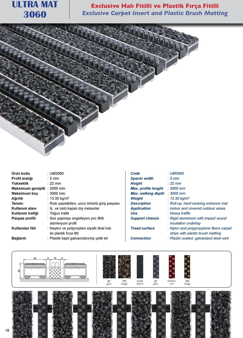 Plastik kaplı galvanizlenmiş çelik tel Spacer width Max. profile lenght Max. walking depth Description Application Support chassis Tread surface Connection : UM3060 : 5 mm : 3000 mm : 3000 mm : 13.