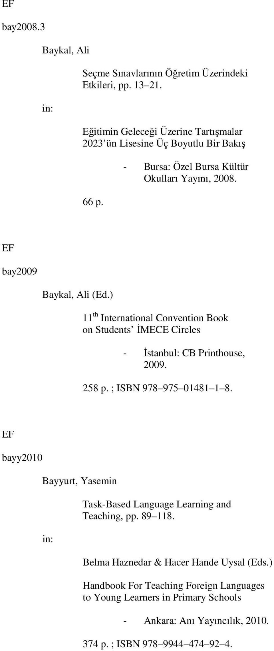 ) 11 th International Convention Book on Students İMECE Circles - İstanbul: CB Printhouse, 2009. 258 p. ; ISBN 978 975 01481 1 8.