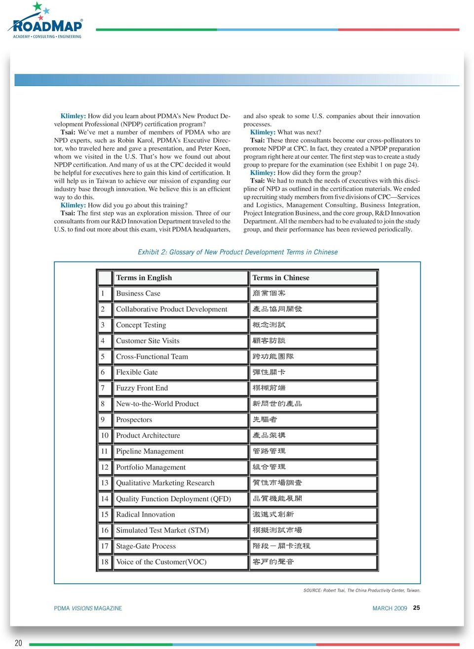 Terms in Chinese 20 PDMA VISIONS MAGAZINE SOURCE:
