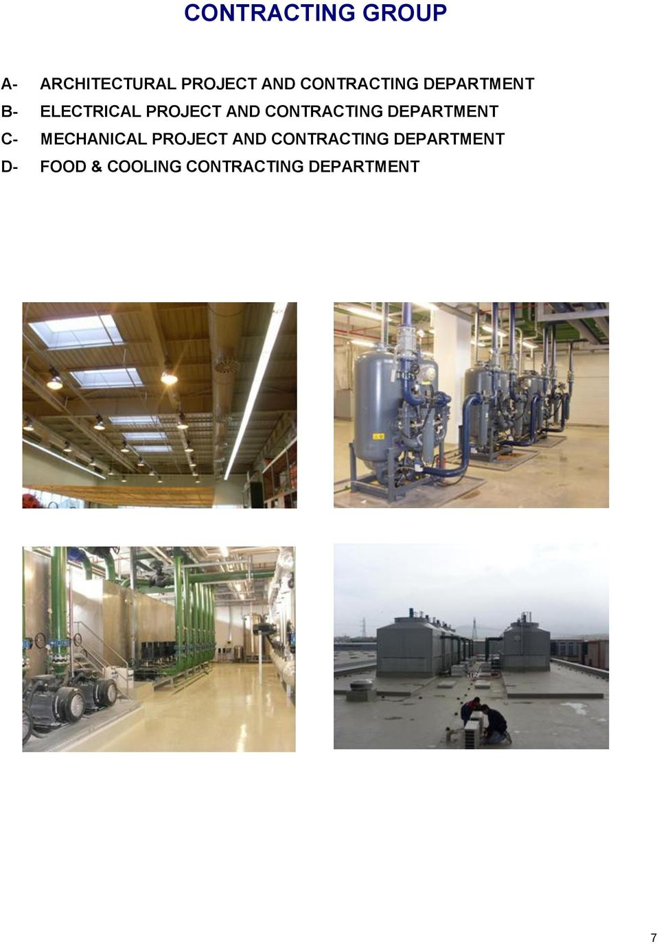 CONTRACTING DEPARTMENT C- MECHANICAL PROJECT AND
