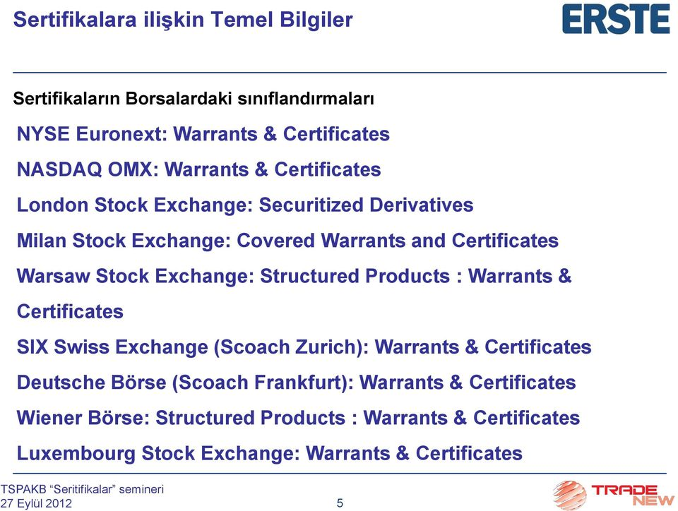 Exchange: Structured Products : Warrants & Certificates SIX Swiss Exchange (Scoach Zurich): Warrants & Certificates Deutsche Börse (Scoach