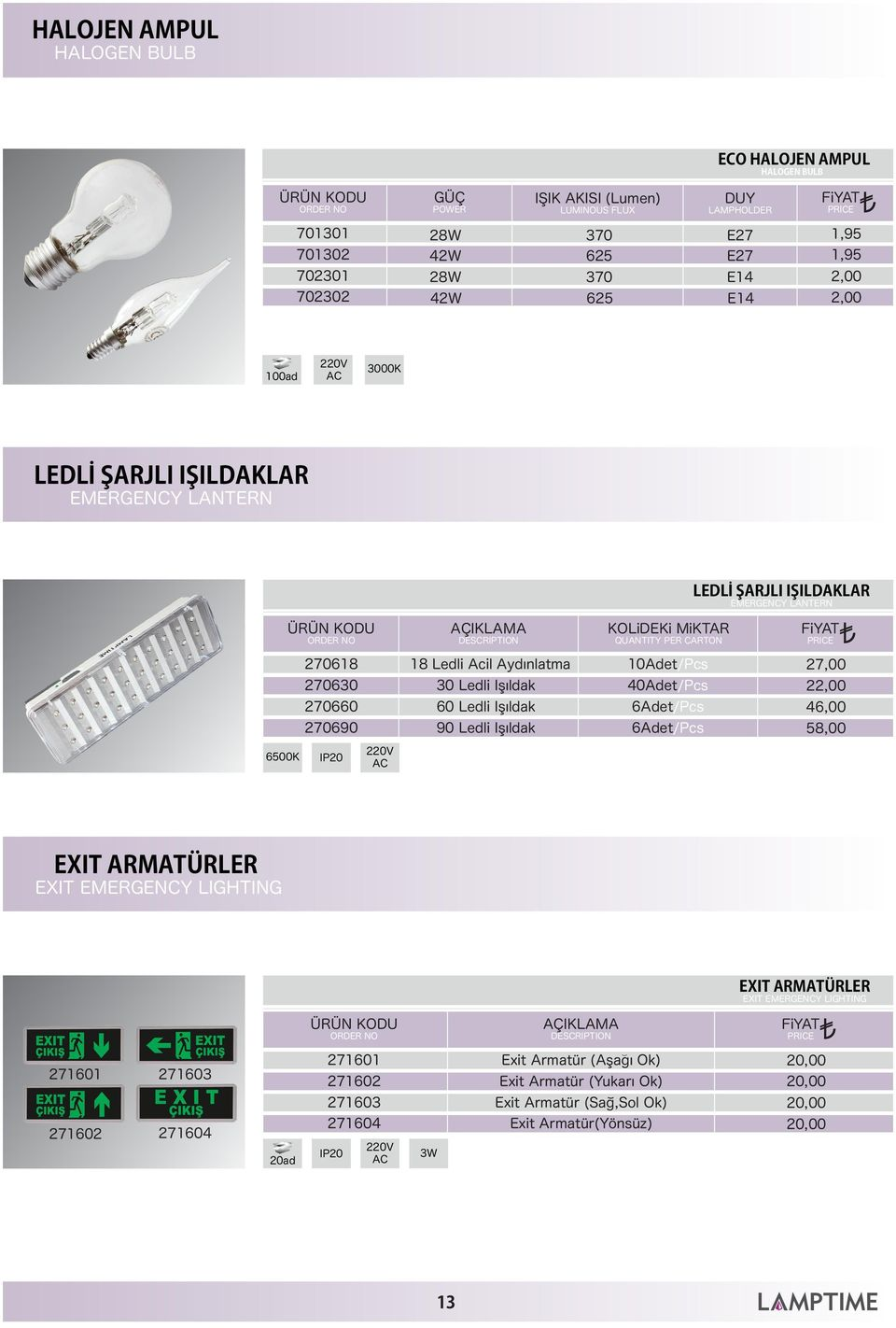 Işıldak 40Adet/Pcs 60 Ledli Işıldak 6Adet/Pcs 90 Ledli Işıldak 6Adet/Pcs 46,00 58,00 EXIT ARMATÜRLER EXIT EMERGENCY LIGHTING EXIT ARMATÜRLER EXIT EMERGENCY LIGHTING AÇIKLAMA