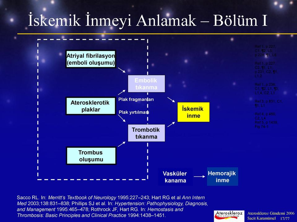 oluşumu Vasküler kanama Hemorajik inme Sacco RL. In: Merritt s Textbook of Neurology 1995:227 243; Hart RG et al Ann Intern Med 2003;138:831 838; Phillips SJ et al.