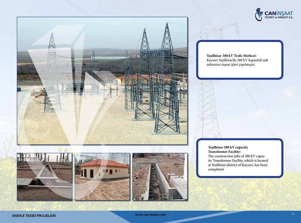 Yeşilhisar 380 kv capacity Transformer Facility: The construction jobs of 380 kv